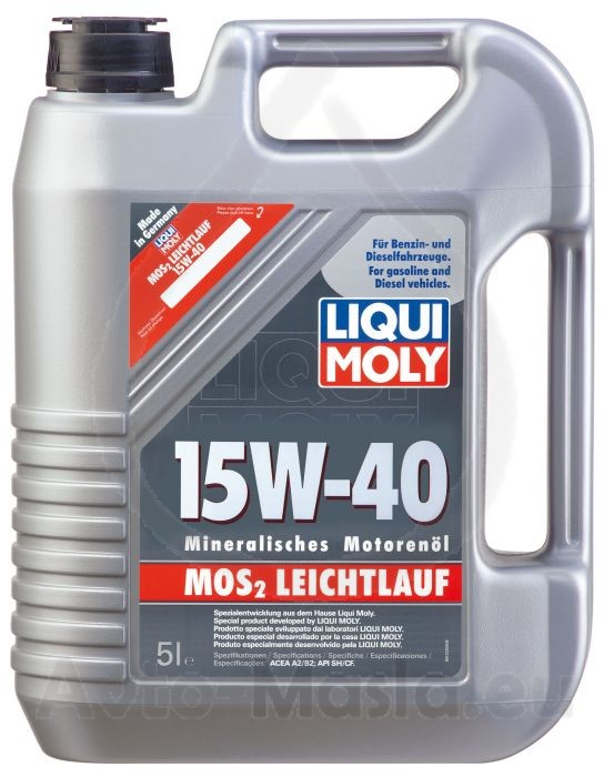 liqui moly mos2 leichtlauf 15w 40 5l avto masla eu. Black Bedroom Furniture Sets. Home Design Ideas
